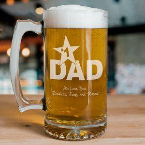 1 Dad Personalized Sports Glass Mug