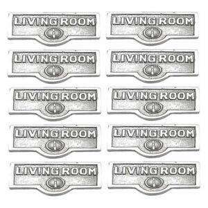 10 Switch Plate Tags LIVING ROOM Name Sign Labels Chrome Brass |