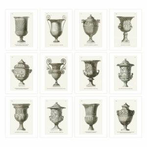 12-Piece Antique Italian Garden Vase Prints, Sepia on Watercolor Paper