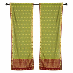 2 Lined Green Bohemian Indian Sari Curtains Rod Pocket Living Room -80