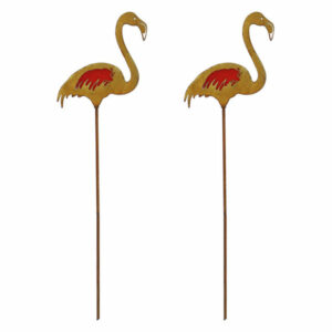 2-Piece Rustic Flamingo Metal Garden Picks w/ Red Glass Feather Accent