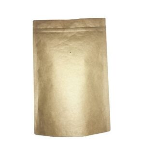 2 Pound Foil Lined Stand-Up Zip Pouch Coffee Bag with Valve - TAN KRAFT 100 Count, 100 Count