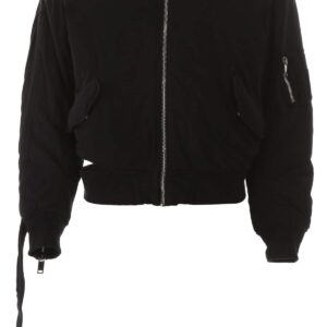 424 BOMBER JACKET WITH CUT-OUT M Black Cotton