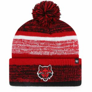 '47 Arkansas State University Adults' Northward Cuff Knit Pom Hat Red - NCAA Men's Caps at Academy Sports
