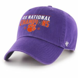 '47 Clemson Tigers 2019 Multi-National Champions Clean Up Ball Cap Purple - NCAA Caps/Novelty Events at Academy Sports
