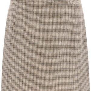 A.P.C. SONIA MICRO-CHECK MINI SKIRT 38 Brown, Beige Wool