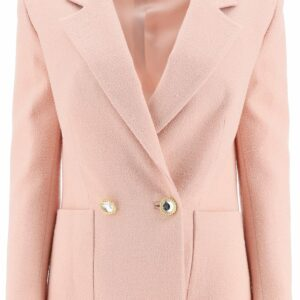 ALESSANDRA RICH DOUBLE BREASTED TWEED JACKET 40 Pink, Beige Wool