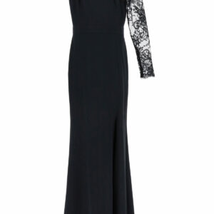 ALEXANDER MCQUEEN ONE-SHOULDER LONG DRESS LACE SLEEVE 38 Black