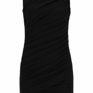 BALMAIN DRAPED SHORT DRESS 36 Black