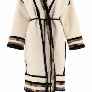 BLANCHA REVERSIBLE SHEARLING COAT WITH INSERTS 42 Beige, Black, Brown Leather, Fur