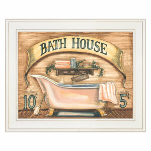 """Bath House"" by Becca Barton, Framed Print, White Frame"