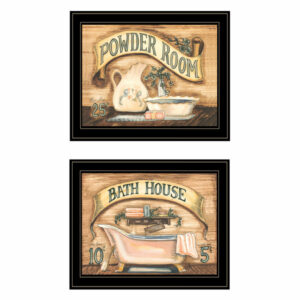 """Bath & Powder Room"" 2-Piece Vignette by Becca Barton, Black Frame"