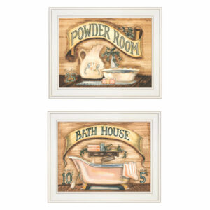 """Bath & Powder Room"" 2-Piece Vignette by Becca Barton, White Frame"