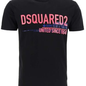 DSQUARED2 T-SHIRT WITH UNITED SINCE '64 PRINT M Black, Fuchsia, Blue Cotton