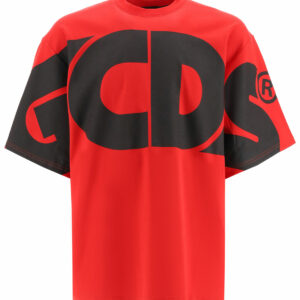 GCDS T-SHIRT WITH MAXI LOGO S Red, Black Cotton
