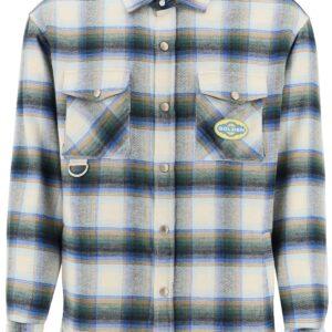 GOLDEN GOOSE ALLEN CHECK SHIRT JACKET S Green, Light blue, White Cotton