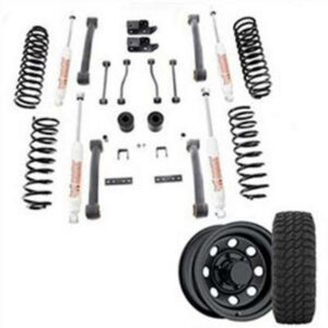 Genuine Packages 4 Inch Trail Master Complete Lift Kit with Springs and LCA's with Pro Comp XMT2 Tires and Trail Master Wheel Package - Set of 4 - TJS