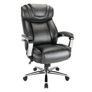 Lenovo Realspace Axton Leather High-Back Big & Tall Chair, Dark Gray