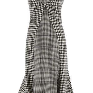 MARINE SERRE MIDI HOUNDSTOOTH DRESS M White, Black Wool