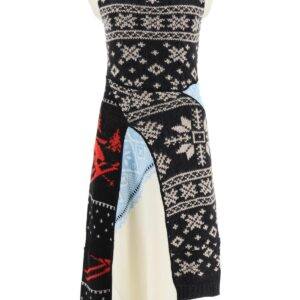 MARINE SERRE MIDI KNITTED DRESS M Black, Beige, Red Wool