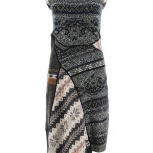 MARINE SERRE MIDI KNITTED DRESS S Grey, Black, Beige Wool
