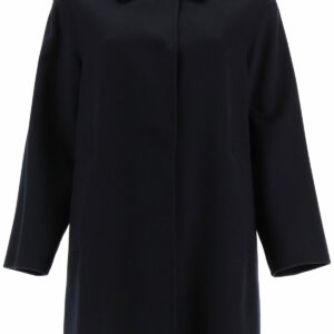 MAX MARA STUDIO CILENO COAT 42 Blue Cashmere, Wool, Silk