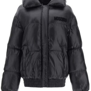 MOSCHINO PADDED BOMBER JACKET TEDDY EMBROIDERY 38 Black Technical