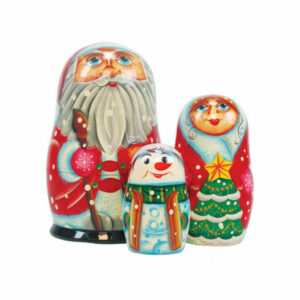 Russian 3 Piece Santa Family Nested Doll Set
