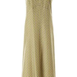 'S MAX MARA DELIA PRINTED SILK MIDI DRESS 42 Green, Yellow, Brown Silk