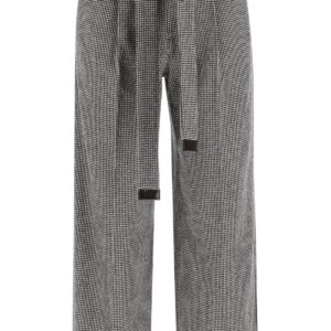 'S MAX MARA EXPLOIT TROUSERS WITH SASH BELT 42 Black, White Wool, Cotton
