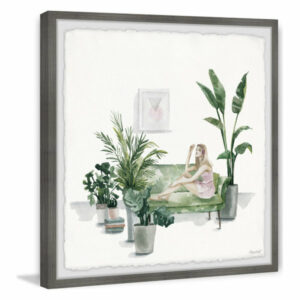"""Tropical Living Room"" Framed Painting Print, 18""x18"""