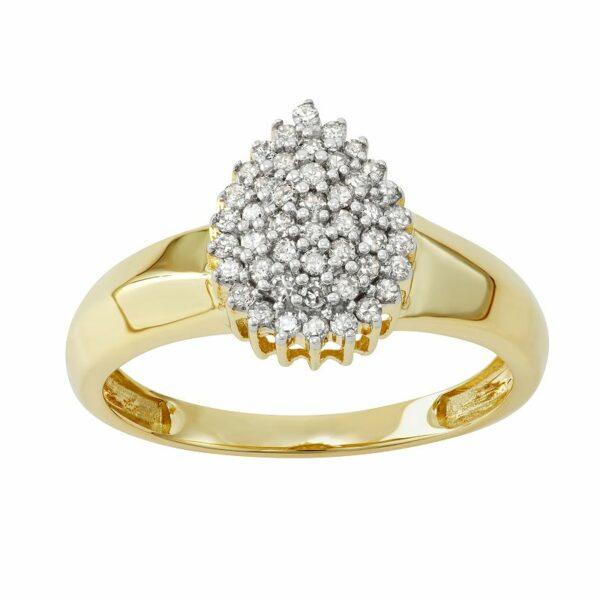 10k Gold 1/3 Carat T.W. Diamond Cocktail Ring, Women's, Size: 8, White