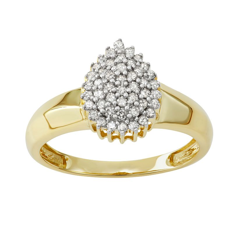 10k Gold 1/3 Carat T.W. Diamond Cocktail Ring, Women's, Size: 8, White