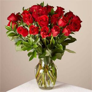 24 Red Roses Bouquet with Glass Vase
