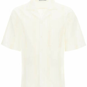 ACNE STUDIOS STRIPED JACQUARD COTTON BLEND SHIRT 46 White, Beige Cotton