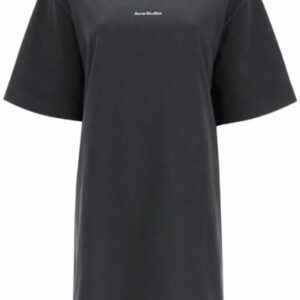 ACNE STUDIOS T-SHIRT DRESS WITH LOGO S Black Cotton