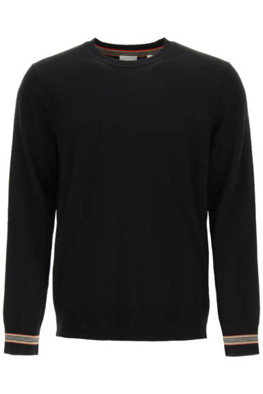 BURBERRY PARADISE CREWNECK SWEATER S Black Wool