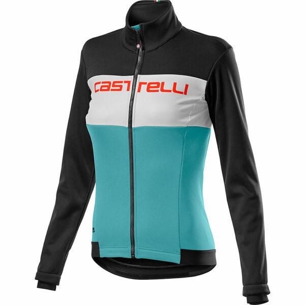Castelli Women's Como Jacket - Light Black-White-Celeste