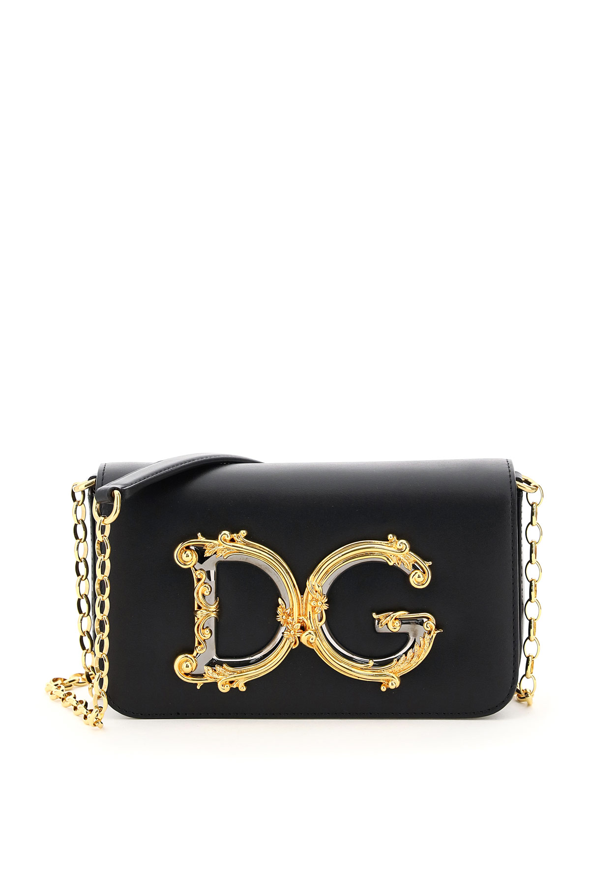DOLCE & GABBANA DG GIRL MINI BAG BAROCCO OS Black Leather
