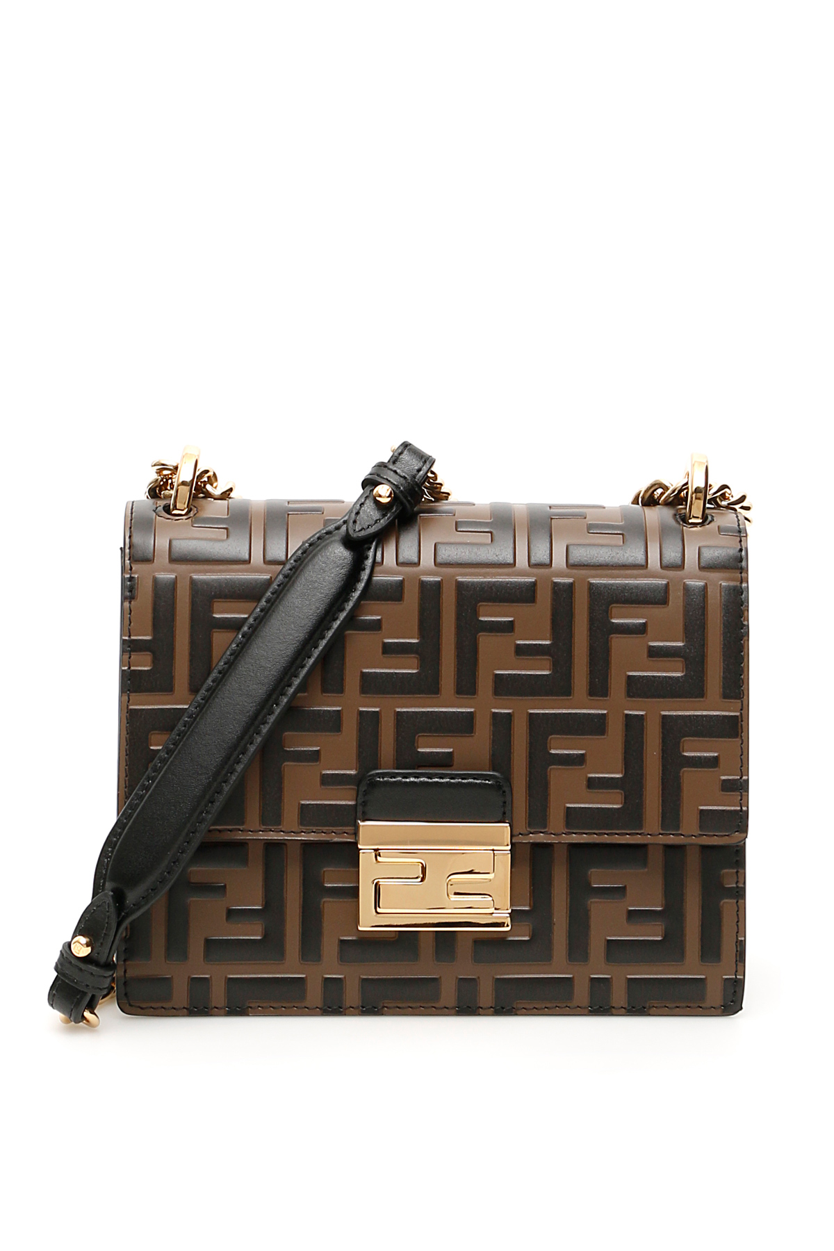 FENDI SMALL FF KAN U BAG OS Brown, Black Leather