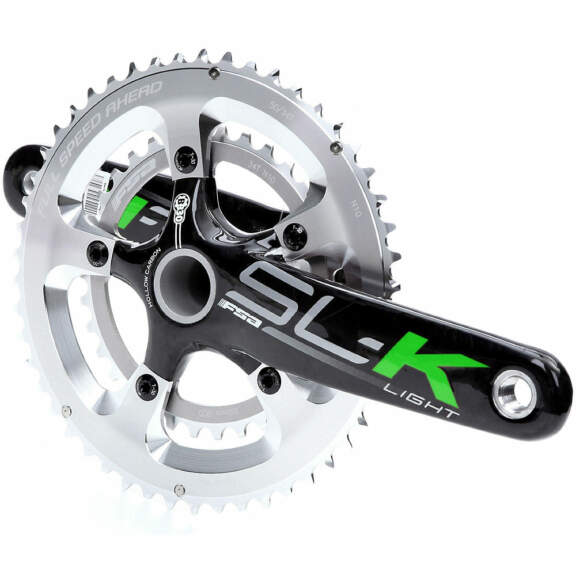FSA SL-K Light BB30 10 Speed Carbon Chainset – 53.39t – Black-Silver