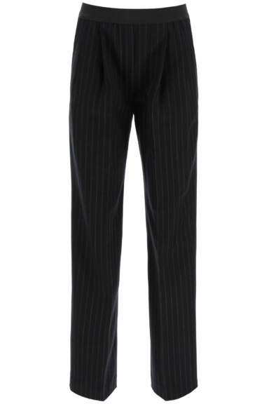LOULOU STUDIO MORETTA PINSTRIPE TROUSERS WITH ELASTIC BAND XS Black, Grey Wool