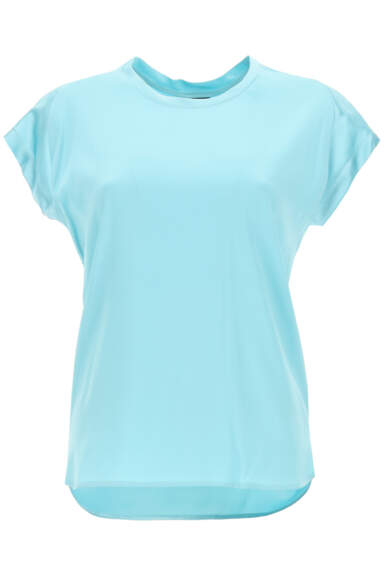 PINKO FARIDA BLOUSE IN STRETCH SATIN 38 Light blue Silk