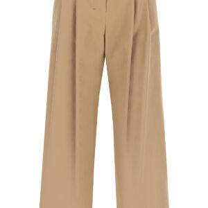 'S MAX MARA CROCHET WIDE LEG TROUSERS 40 Brown Leather, Cotton