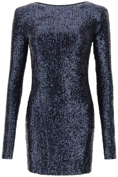SAINT LAURENT MINI DRESS WITH SEQUINS XS Blue