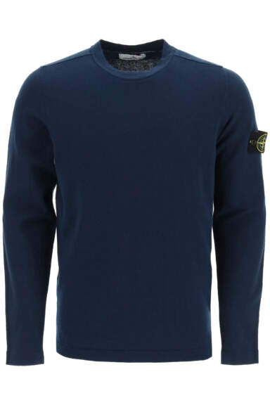 STONE ISLAND COTTON CREW NECK SWEATER M Blue Cotton