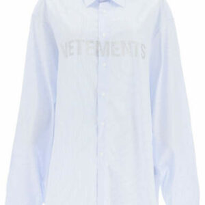 VETEMENTS STRIPED SHIRT WITH GLITTER LOGO M Light blue, White Cotton