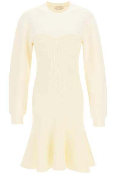 ALEXANDER MCQUEEN BUSTIER KNIT MINI DRESS S White Wool, Cotton