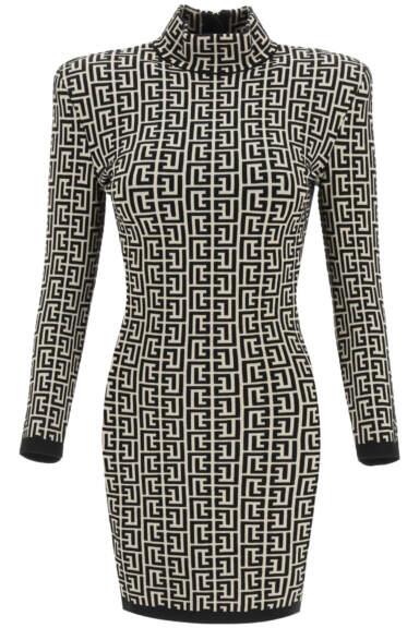 BALMAIN MONOGRAM JACQUARD MINI DRESS 36 Black, Beige Wool