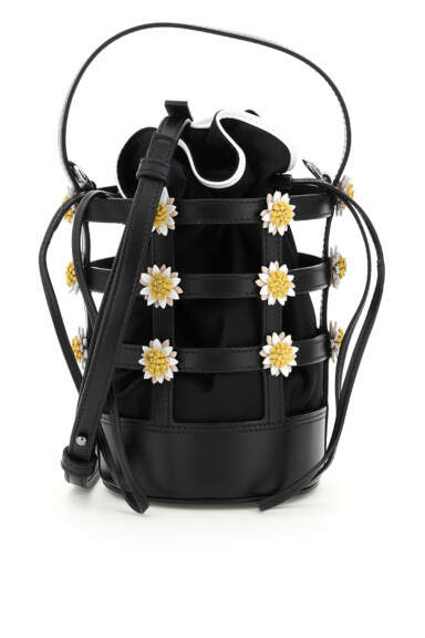 FABRIZIO VITI MISS DAISY MINI BUCKET BAG OS Black, White, Yellow Leather